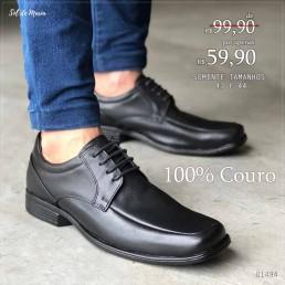 Sapato Foot Care Preto Couro 4016
