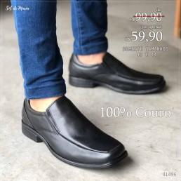 Sapato Foot Care Preto Couro 202