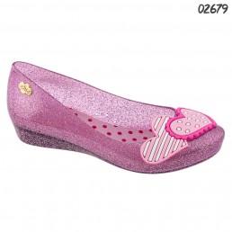 Sapatilha Charmosa Chic Coração Duplo Glitter Rosa 1936