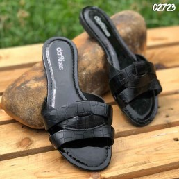 Chinelo Akazzo Dafiti Shoes Sobrepostos New Croco Preto
